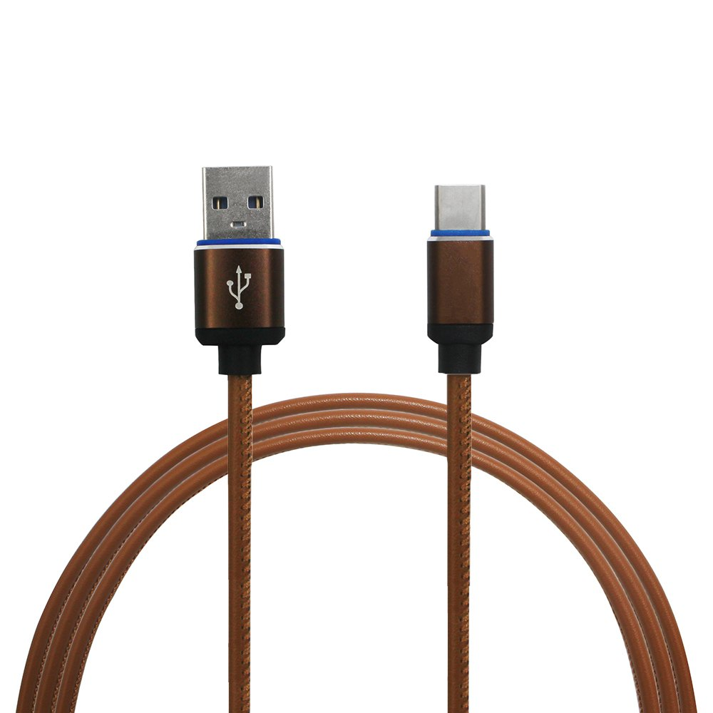 Mini Smile 3.4A Quick Charge Leather Type-C To Usb Charging Cable with High-Speed Data Transmission 100CMHOME<br><br>Color: LIGHT BROWN;