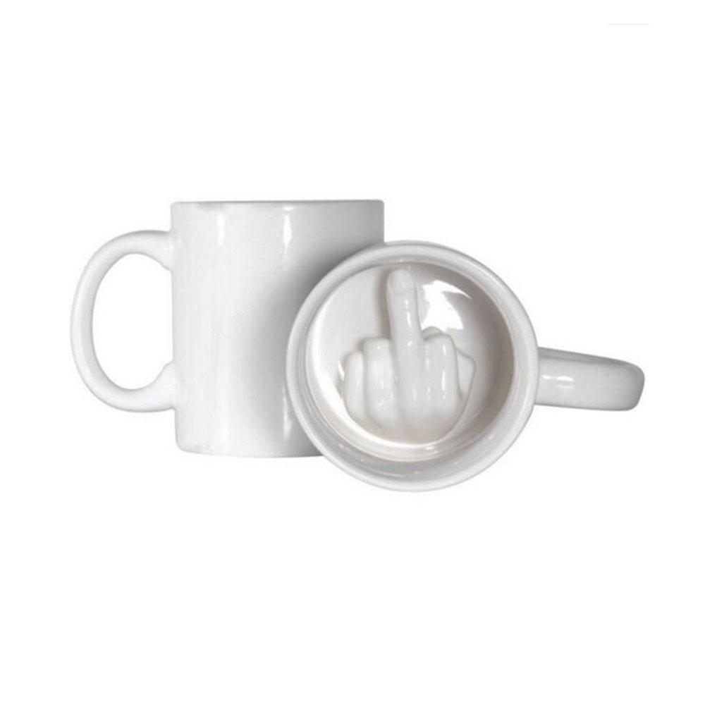 Funny Spoof Creative Middle Finger Ceramic Cup WhiteHOME<br><br>Size: 1PC; Color: SNOW WHITE; Material: Ceramics; Main Features: Funny Spoof; Package weight: 0.4140 kg; Product weight: 0.3850 kg; Product size (L x W x H): 12.00 x 8.00 x 9.50 cm / 4.72 x 3.15 x 3.74 inches; Package size (L x W x H): 13.50 x 9.00 x 11.00 cm / 5.31 x 3.54 x 4.33 inches; Package Contents: 1 x Cup;