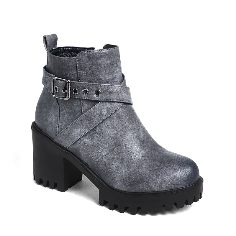 Womens Shoes Leatherette Winter Fashion Bootie Chunky Heel Round Toe  Buckle Zipper Casual DressSHOES &amp; BAGS<br><br>Size: 40; Color: GRAY;