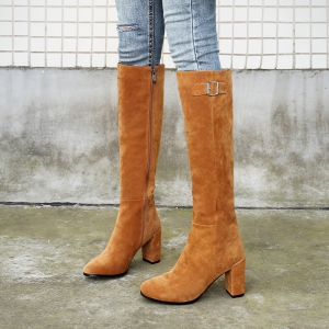 Women's Shoes Real Leather Winter Riding Boots Fashion Chunky Heel Round Toe Knee High Boots -