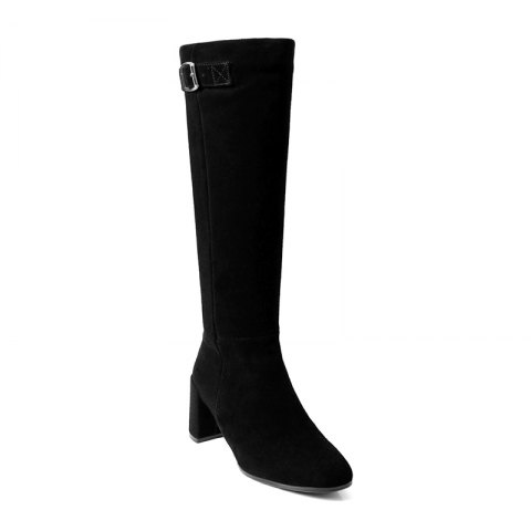 Outfit Women's Shoes Real Leather Winter Riding Boots Fashion Chunky Heel Round Toe Knee High Boots