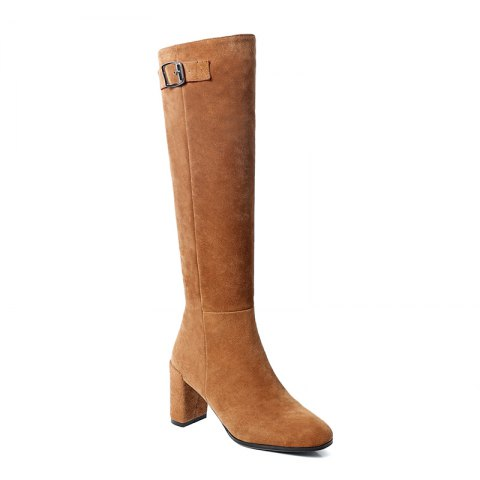 Store Women's Shoes Real Leather Winter Riding Boots Fashion Chunky Heel Round Toe Knee High Boots