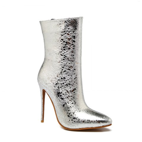 Affordable Women's Shoes Leatherette Winter Fashion Boots Stiletto Heel Pointed Toe Zipper