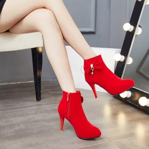 Women's Shoes Leatherette Winter Fashion Boots Stiletto Heel Round Toe Booties Bowknot Zipper -