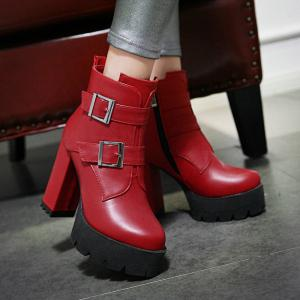 Women's Boots Fashion Winter Casual Dress Buckle Zipper Chunky Heel Dark Brown Ruby Black -