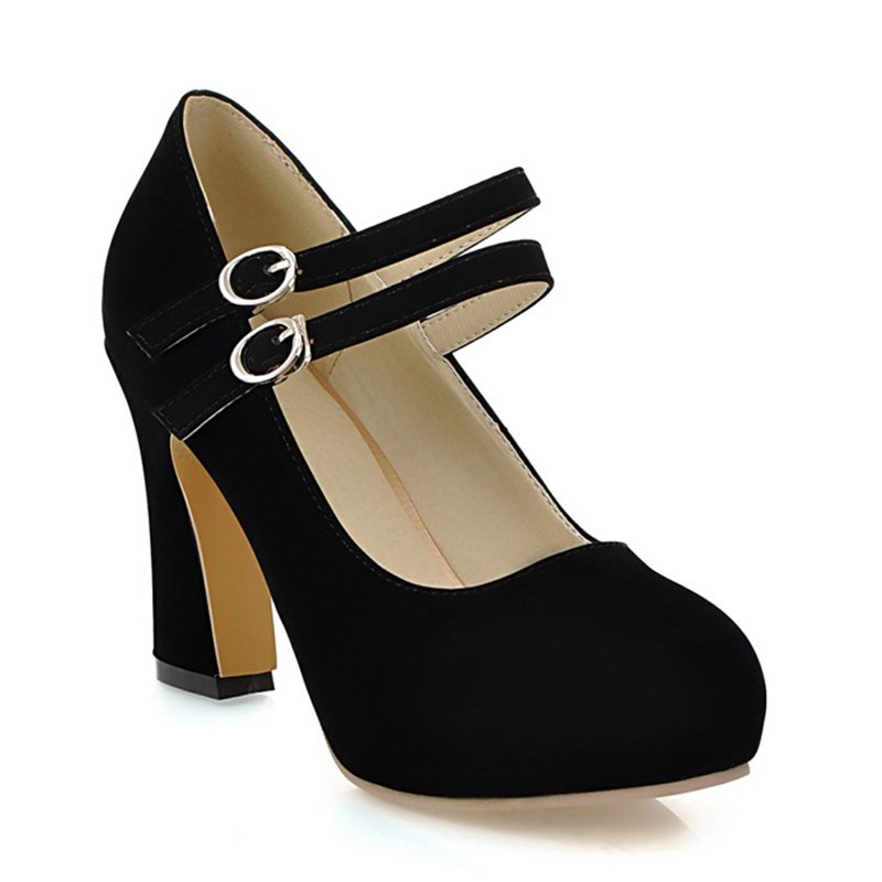 Womens Heels Spring Summer Club Shoes Leatherette Party &amp; Evening Dress Chunky Heel Buckle Blue Yellow Beige BlackSHOES &amp; BAGS<br><br>Size: 36; Color: BLACK;