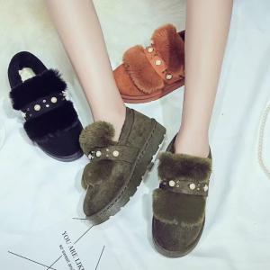 New Winter Snow Flat Female Students FashionPearl Short Cotton -