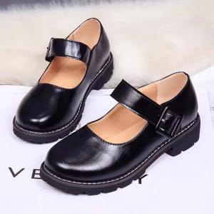 Low Heel Shallow Retro Doll Pommel Small Leather Female Students' Shoes -