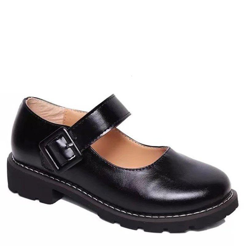 Hot Low Heel Shallow Retro Doll Pommel Small Leather Female Students' Shoes