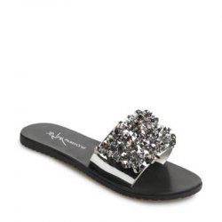 Мода Rhinestone Flower Flat Bottomed Toe Slippers -