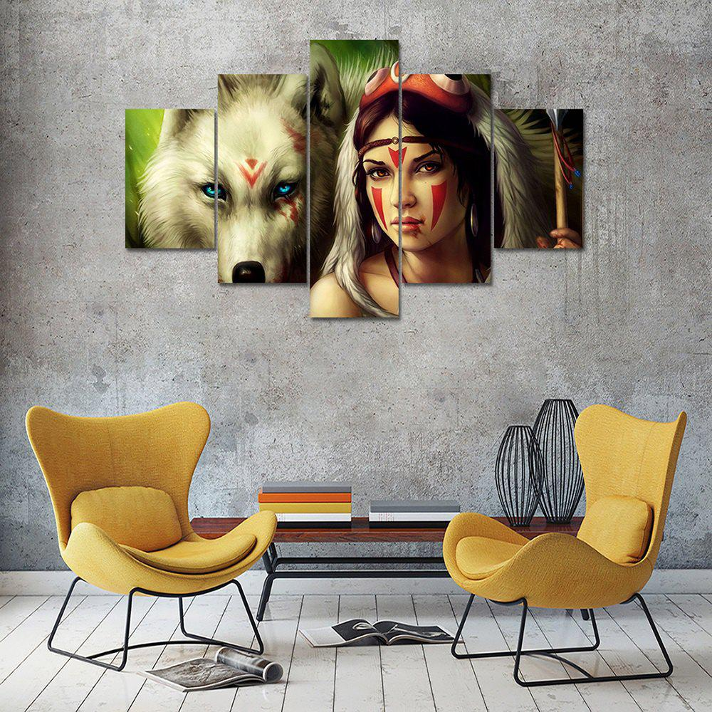 Indians Canvas Print Wall Art Painting Home Decor 5pcsHOME<br><br>Color: COLORMIX; Material: Canvas; Shape: Any Shape; Craft: Print; Form: Five Panels; Painting: Without Inner Frame; Subjects: Landscape; Style: Others; Suitable Space: Dining Room,Kids Room,Living Room,Office,Study Room / Office;