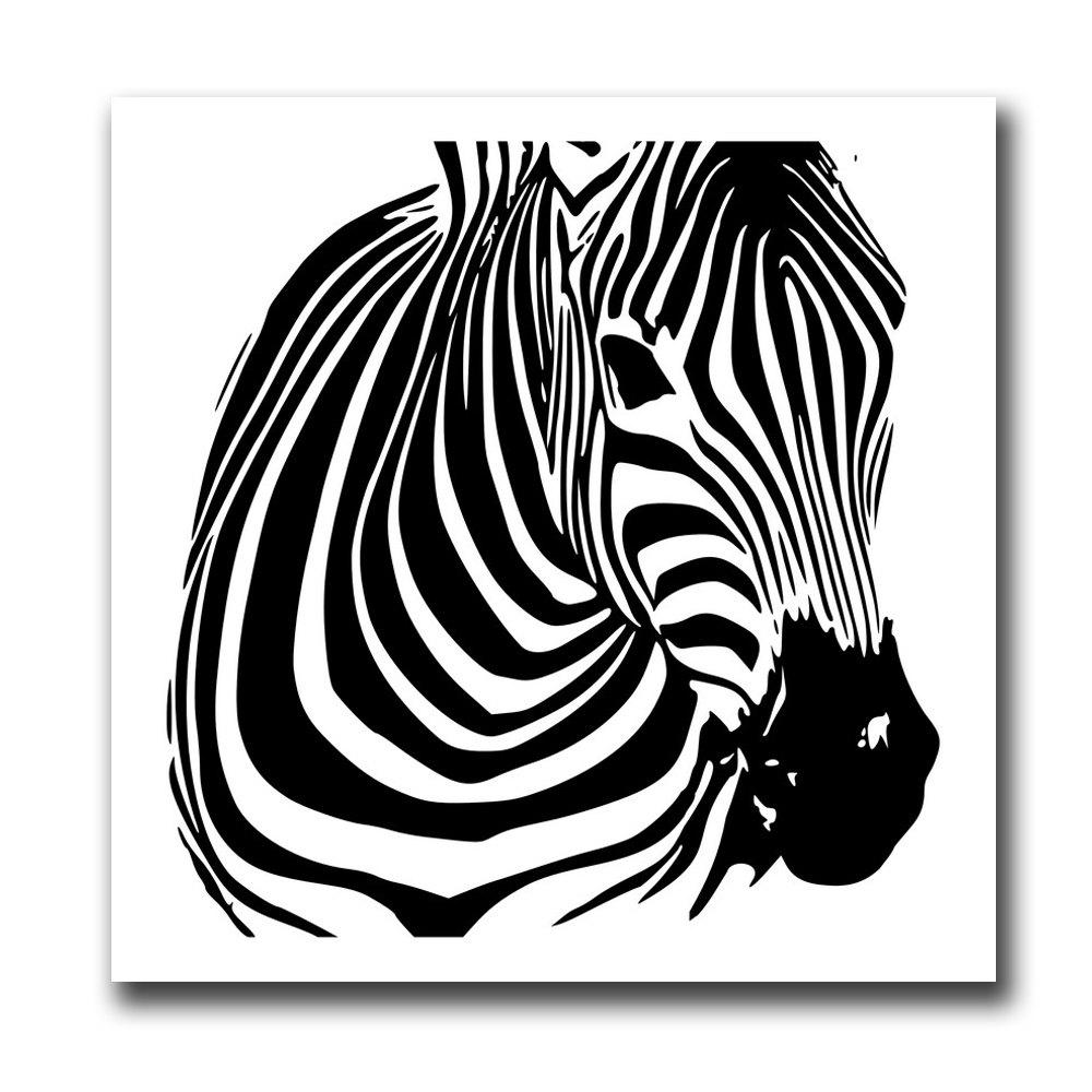 Black and White Zebra Canvas PaintingHOME<br><br>Size: 24 X 24 INCH (60CM X 60CM); Color: BLACK WHITE;