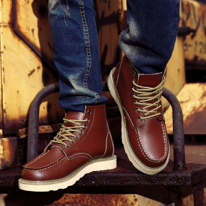 Men Shoes High Top Fashion Sneakers British Office Shoes -