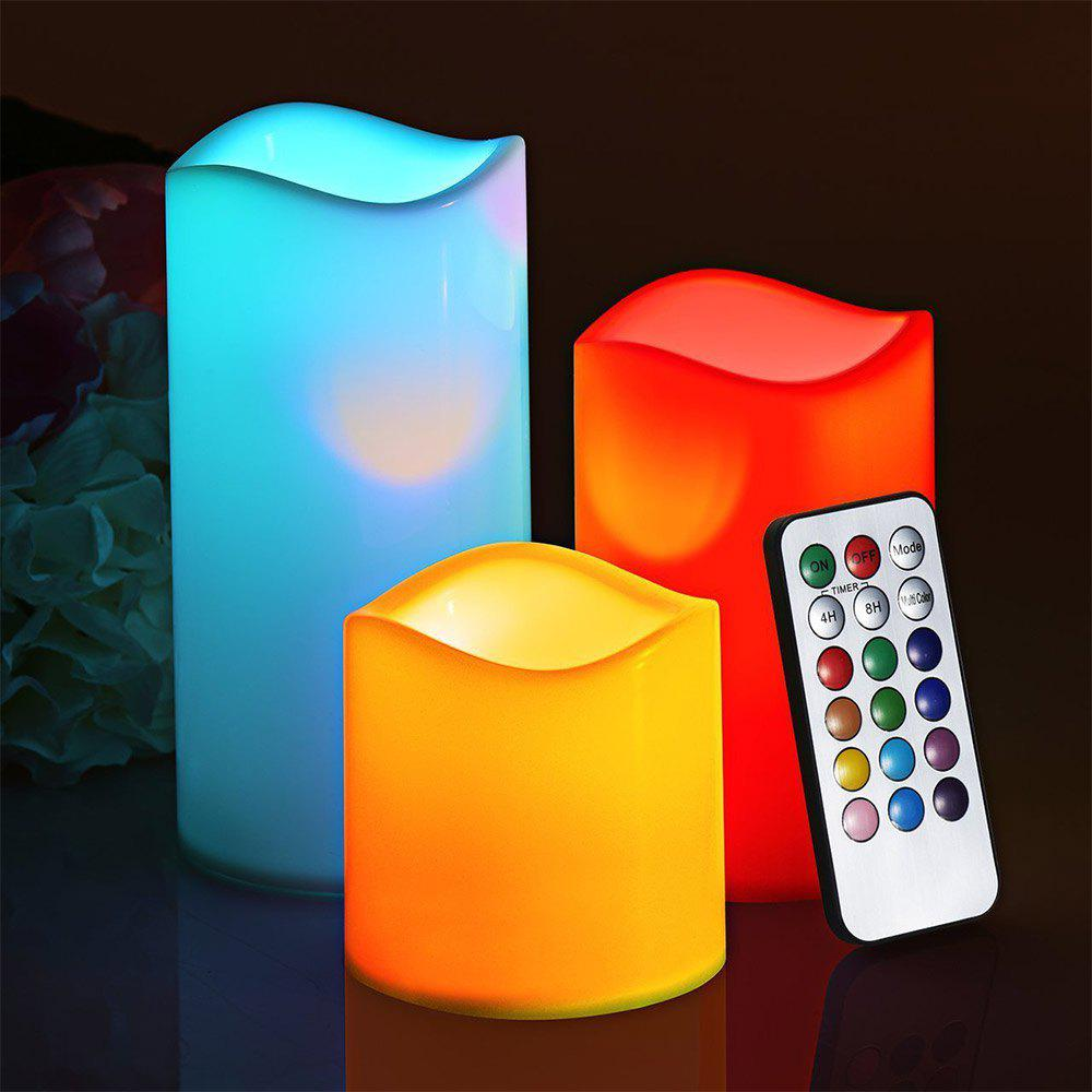 Youoklight 3PCS 1W Dc5v 12 Color Led Smokeless Flickering Electronic Candles Light No Batteries IncludedHOME<br><br>Color: OFF-WHITE;