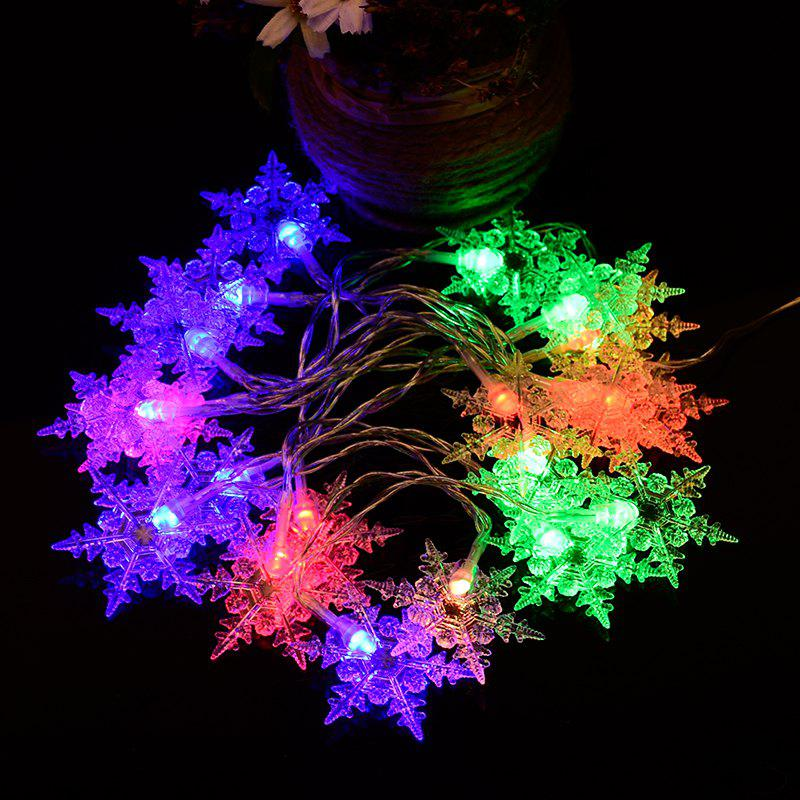 2M 20-LED Snowflake Lights Battery Powered String Lights for Christmas Party Home DecorationHOME<br><br>Color: COLORFUL; Material: Plastic; Usage: Christmas,New Year,Party,Wedding; Package Quantity: 1 x Light String;