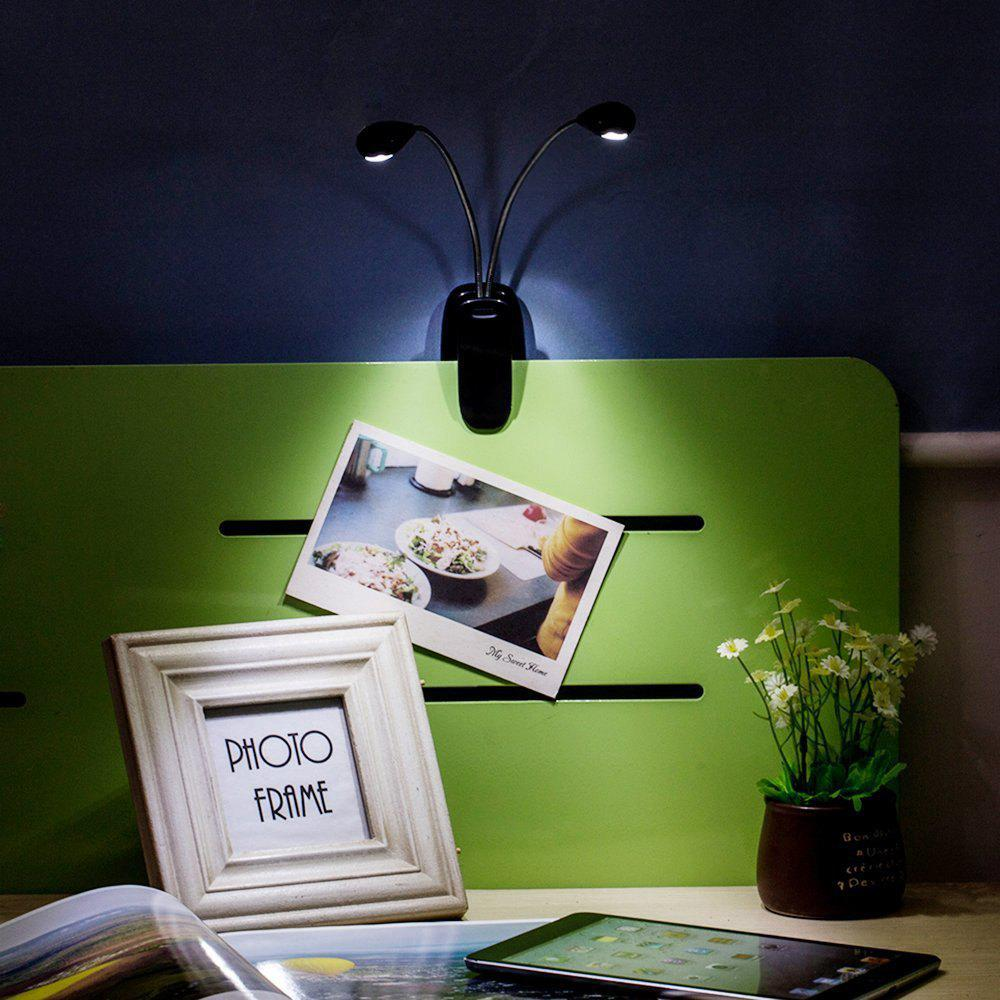 Creative LED Double Pole Clamps Desk Lamp White Light for Home DecorationHOME<br><br>Color: BLACK; Material: PVC; Power Supply: Battery; Product weight: 0.1500 kg; Package weight: 0.2000 kg; Product size (L x W x H): 4.30 x 8.00 x 23.90 cm / 1.69 x 3.15 x 9.41 inches; Package size (L x W x H): 25.00 x 15.00 x 5.00 cm / 9.84 x 5.91 x 1.97 inches; Package Contents: 1 x Table Lamp;