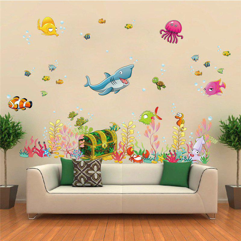Sea Floor World Shark Combination Removable Wall Stickers 2PCSHOME<br><br>Color: COLORMIX; Type: Plane Wall Sticker; Subjects: Fashion,Landscape; Function: Decorative Wall Sticker; Material: Vinyl(PVC); Suitable Space: Bedroom,Boys Room,Game Room,Girls Room,Kids Room,Kids Room,Living Room,Office,Pathway,Study Room / Office; Quantity: 1;