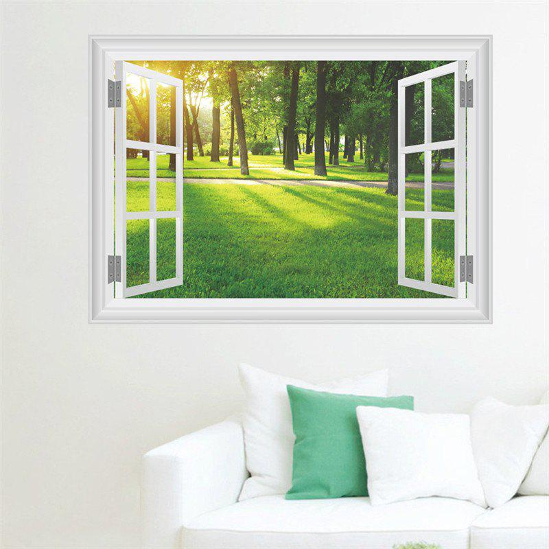 New Style 3D Sunlight Forest Grass False Window Wall StickerHOME<br><br>Color: COLORMIX; Type: 3D Wall Sticker; Subjects: 3D,Architecture,Landscape; Art Style: Toilet Stickers; Function: 3D Effect,Decorative Wall Sticker; Material: Vinyl(PVC); Suitable Space: Bedroom,Boys Room,Cafes,Game Room,Girls Room,Kids Room,Living Room,Office,Study Room / Office; Quantity: 1;