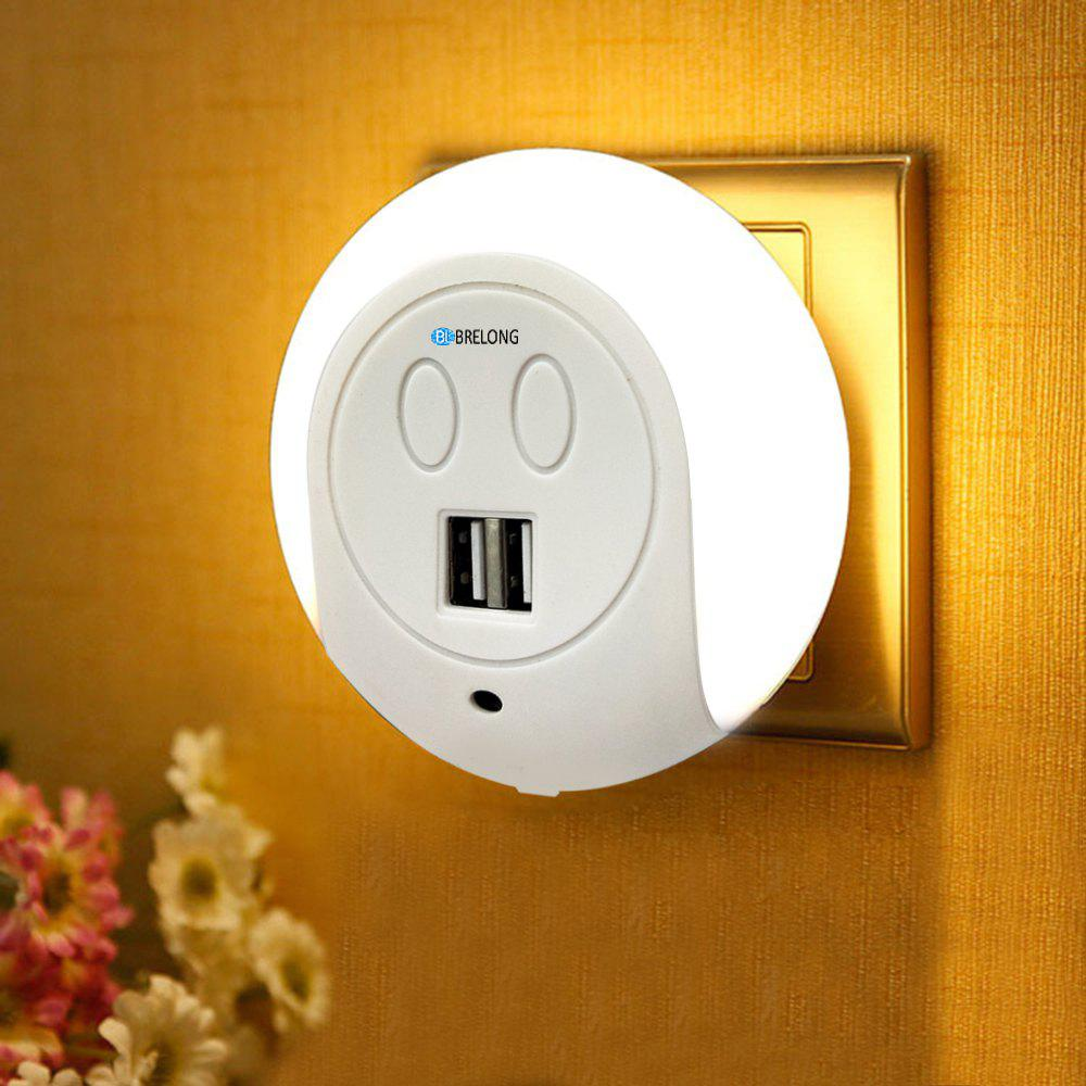BRELONG LED Night Light Dual USB Port Wall Charger  Light Sensor  2A 110-240V EUHOME<br><br>Color: WHITE; Brand: BRELONG; Plug Type: EU plug; Wattage: 0.75W; Mini Voltage: 110-220V; Light Source Color: Warm White; Light Type: LED,LED Night Light,USB Lights; Power Source: AC; Connector Type: EU plug; Features: Rechargeable; Color Temperature or Wavelength: 3000-3500; Quantity: 1; Style: Comtemporary;