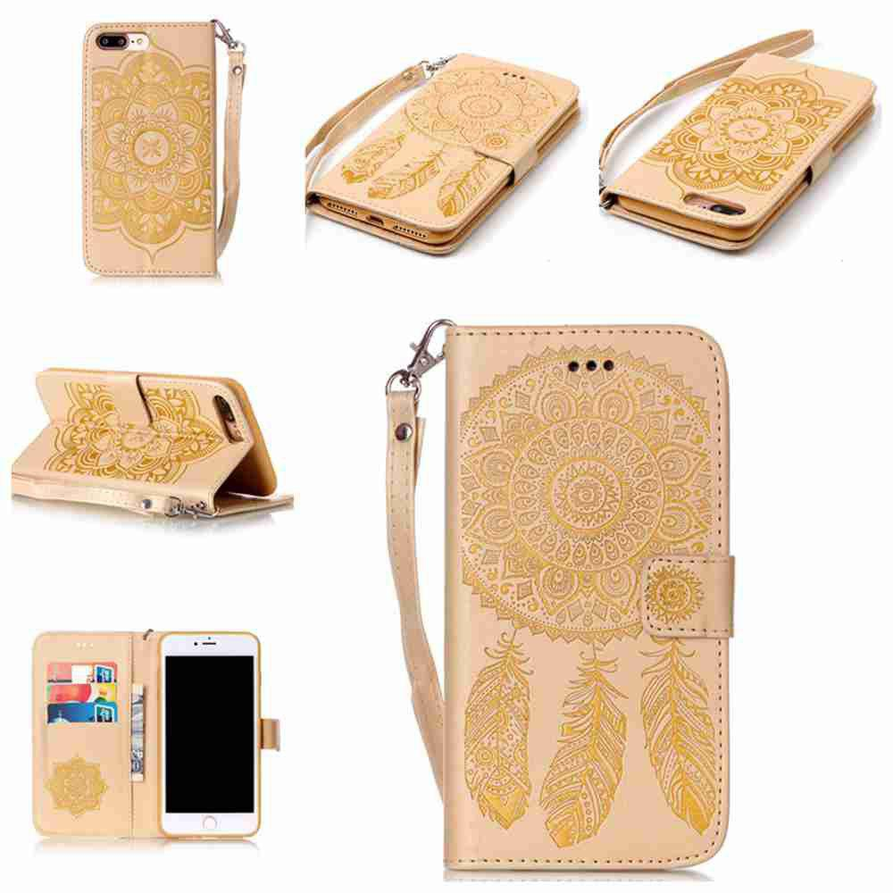 Affordable Embossing Campanula PU Phone Case for iPhone 7 Plus / 8 Plus