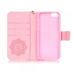 Embossing Campanula PU Phone Case for iPhone 5 / 5C / SE -