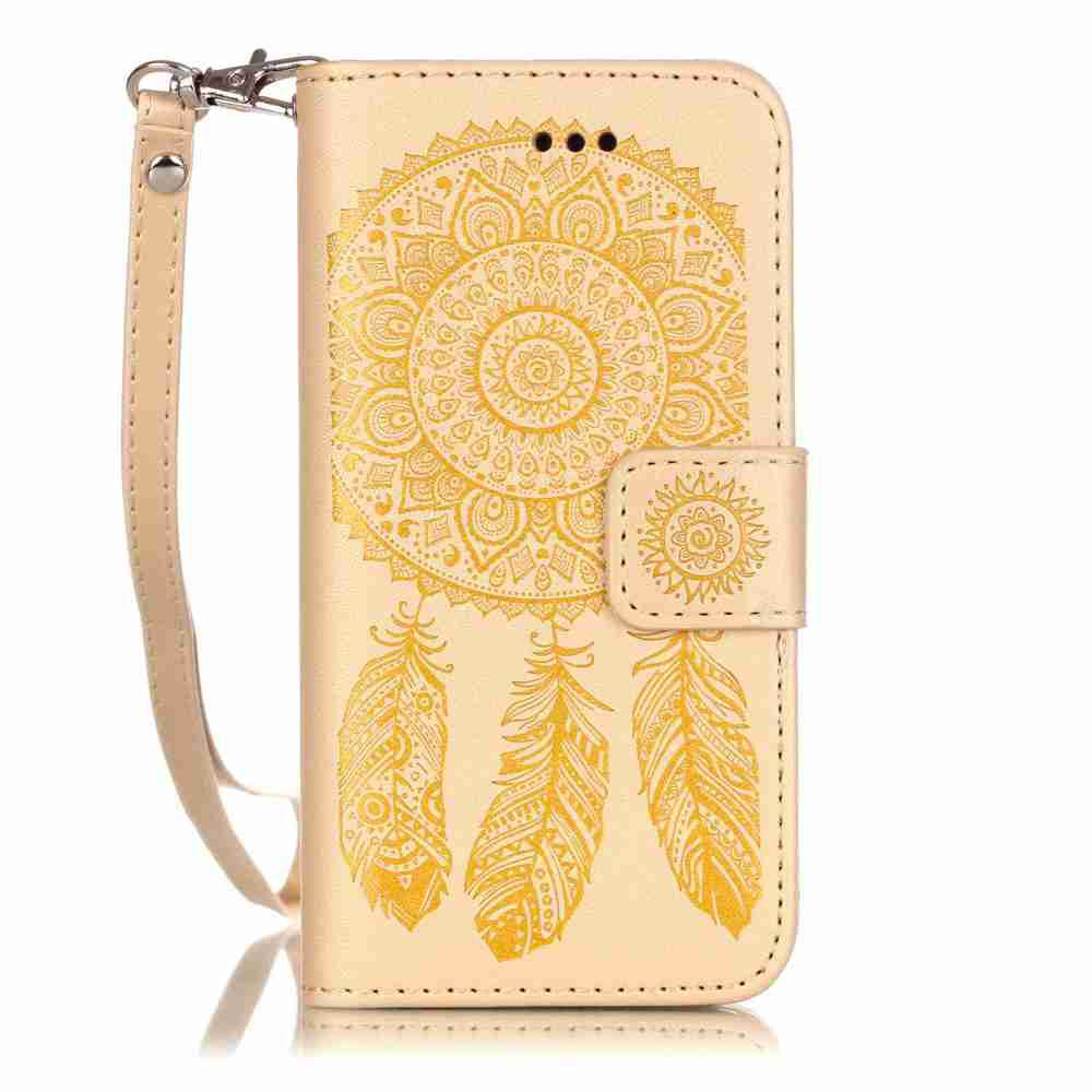 Buy Embossing Campanula PU Phone Case for iPhone 5 / 5C / SE