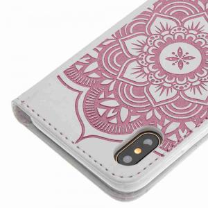 Embossing Campanula PU Phone Case for iPhone X -