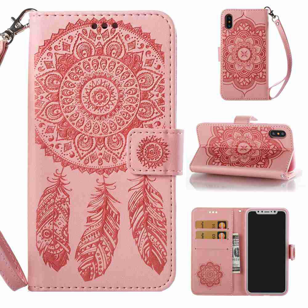 Fancy Embossing Campanula PU Phone Case for iPhone X