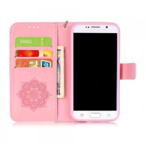 Embossing Campanula PU Phone Case for Samsung Galaxy S6 -