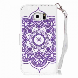 Embossing Campanula PU Phone Case for Samsung Galaxy  S6 Edge -