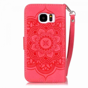 Embossing Campanula PU Phone Case for Samsung Galaxy  S7 -