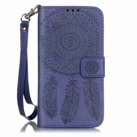 Shop Embossing Campanula PU Phone Case for Samsung Galaxy  S7