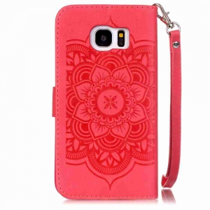 Embossing Campanula PU Phone Case for Samsung Galaxy  S7 Edge -