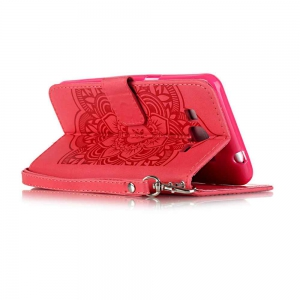 Embossing Campanula PU Phone Case for Samsung Galaxy   Grand Prime G530 -