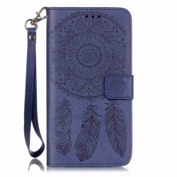 Embossing Campanula PU Phone Case for Samsung Galaxy S6 Edge Plus -