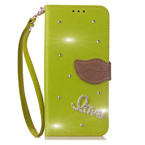 Store Love Leaf Stick Drill Card Lanyard Pu Leather for Cubot RAINBOW 2