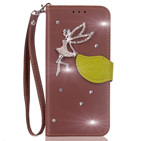 Affordable Leaf Stick Drill Card Lanyard Pu Leather for Cubot RAINBOW 2