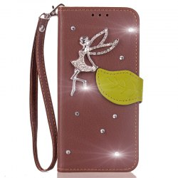 Leaf Stick Drill Card Lanyard Pu Leather for Cubot RAINBOW 2 -