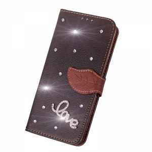 Love Leaf Stick Drill Card Lanyard Pu Leather for Redmi Note 5A -