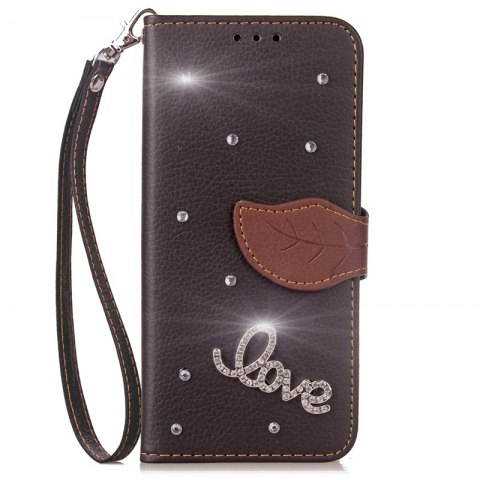 Trendy Love Leaf Stick Drill Card Lanyard Pu Leather for Redmi Note 5A
