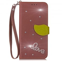 Love Leaf Stick Drill Card Longe Pu cuir pour Redmi Note 5A -