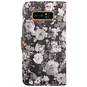 Ink Painting Flowers Card Lanyard Pu Leather for Samsung Note 8 -