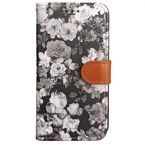 Shops Ink Painting Flowers Card Lanyard Pu Leather for Samsung Note 8