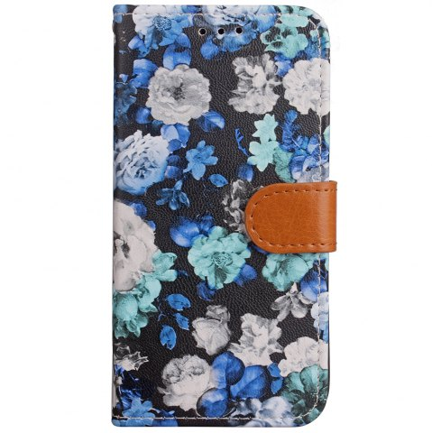Fashion Ink Painting Flowers Card Lanyard Pu Leather for Samsung Note 8