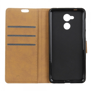 Wkae Solid Color Slim Pattern PU Leather Wallet Stand Case for Huawei Honor 6S / 6C -