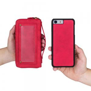 Wkae Multi-Functional Retro Double Zipper Leather Case For IPhone 5 / 5S / SE -