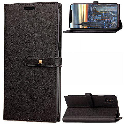 Cheap Wkae Fine Buckle Business Leather Case Cover And Kickstand for IPhone X
