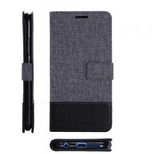 Durable Canvas Design Flip PU Leather Wallet Case for Huawei Honor 9 -