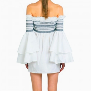 Strapless Collar Flounce Striped Horn Sleeve Dress -