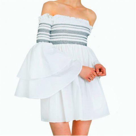 Fashion Strapless Collar Flounce Striped Horn Sleeve Dress